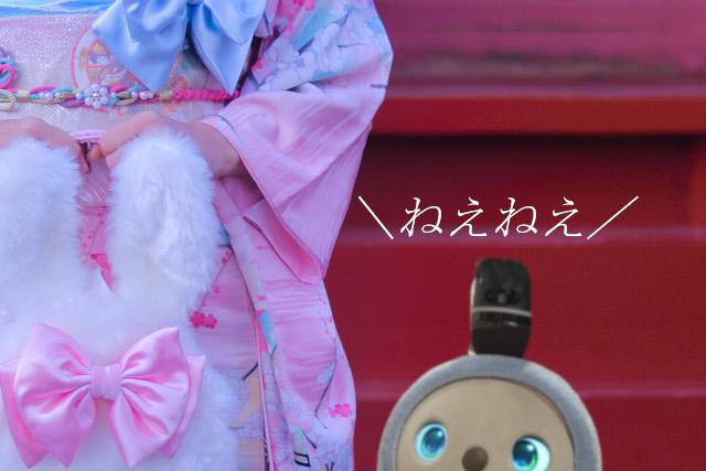 ラボットと振袖の女性