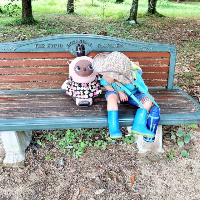 ラボットと子供 植物園